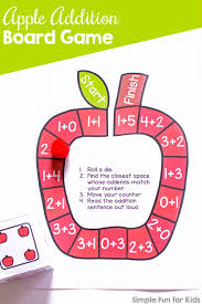 Have Fun While Practicing Addition With A Simple Die Game Cute Printable No Prep Apple