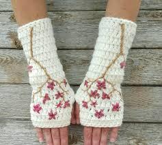 cherry blossom fingerless gloves wool armwarmers wool gloves