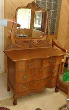 antique quartersawn oak princess vanity dresser 2 drawers oval