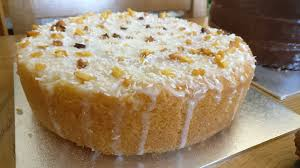 Pineapple basil and coconut drizzle cake