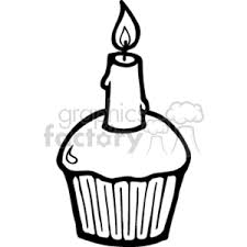 Royalty Free black and white birthday cupcake vector clip art image EPS illustration