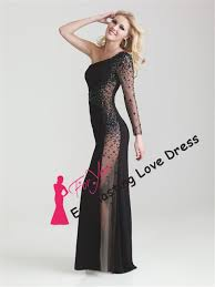Discount New Fashion 2014 Stunning Asymmetrical One Sleeve Sheer Transparent Side Open Back Night Dress