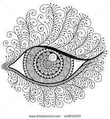 Eye With Eyelashes Decorative Image To The Print Coloring Book For Adult Meditation And