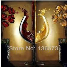Hand Painted Wine Kitchen Decor Red Yellow 2 Piece Canvas Painting Set Abstract Modern Wall Decorative Landscape Art For Sale