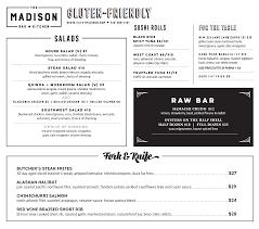 Gluten Friendly Menu The Madison Bar Kitchen