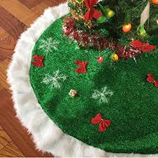 Cotify Christmas Tree Skirts 30 Inch Green And White Plush Faux Fur Luxury Skirt