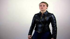 women u0027s black leather biker jacket jet youtube