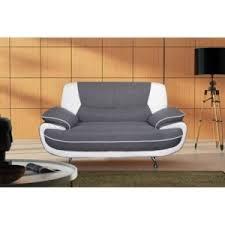 canapé droit 2 places canape droit 2 places tissu pvc gris blanc spacio pas cher achat