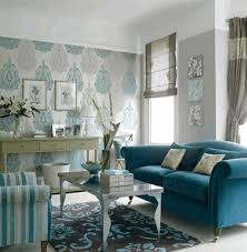 turquoise and grey pattern wallpaper grey white curtains vintage
