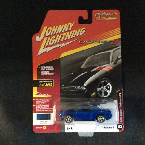 Johnny Lightning JLCG012 2010 Dodge Challenger R/T Deep Model Car - Water Blue Metallic, 1/64 Scale