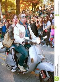 Little Five Points Halloween Parade Pictures by Zombie Couple Rides Scooter In Halloween Parade Editorial Stock