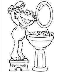 Zoe Brushing Her Hair Sesame Street Coloring Page