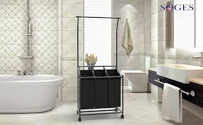 soges wäschekorb wäscheaufbewahrung wäschesammler mit 3 abnehmbaren stofftaschen und mit griff wäschebehälter auf rollen wäschesortierer hmzyl 03 2