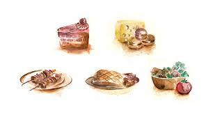 Watercolor Mahakam FOOD bunch by kun bertopeng