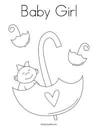 Baby Girl With Umbrella Coloring Page Print This