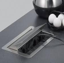 prise encastrable plan de travail cuisine bloc prise escamotable rangements et accessoires pour cuisine