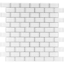 elida ceramica white clear brick mosaic glass wall tile common