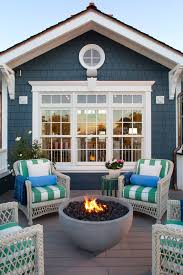 Coastal Home Design Deck Beach Style With Wicker Chairs White Window Trim