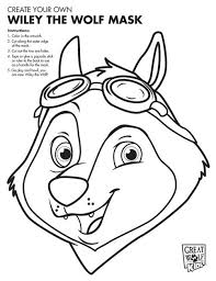 Have Kids Color Their Own Great Wolf Kid Character Masks For A Lodge Themed Birthday Party Cut Out Eyes And Put On Popsicle Sticks