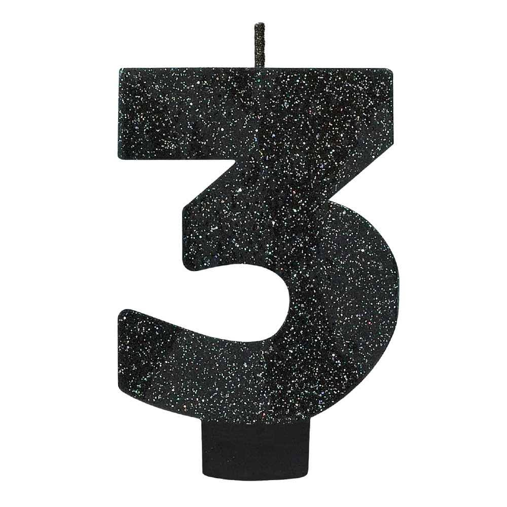 Amscan Glitter Numeral Candle - Black, Number 3
