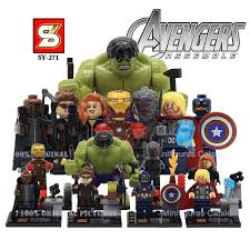 SY 271 Marvel The Avengers 2 Age Of Ultron Action Mini Figures Hulk Iran Man Captain America Building Blocks Minifigures Gift