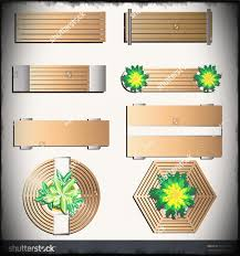 Outdoor Furniture Bench Top View For Landscape Design Set Vector Stock