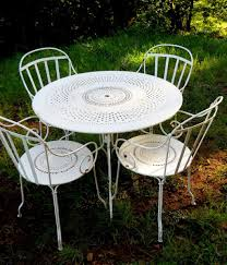 Fermob French Bistro Chairs by Pre1960s Iron Metal French Fermob Cafe Bistro Table Patio Chairs