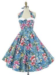 Vintage Style Blue Hawaiian Coquette Halter Dress W White Pique Collar