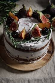 Black Tea Poached Plum And Fig Cake With Rosemary Blackberry Creme Fraiche Frosting