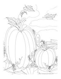 This Thanksgiving Coloring Page Features Two Pumpkins In A Pumpkin Patch Free To Download And