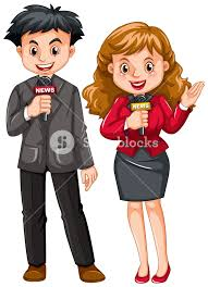 Male And Female Reporters Illustration