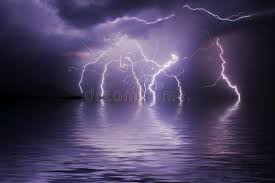 Download Lightning Storm Over Ocean Stock Illustration Of Igneous