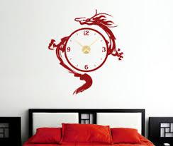 details zu wanduhr drache asiatisch chinesisch wandaufkleber wohnzimmer wanddeko wandtattoo