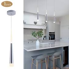 Bewamf Modern Mini Island Pendant Light With Acrylic Shade LED Adjustable Cone Contemporary Pendant Lighting For Kitchen Island Dining Room Living