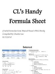 Sinking Fund Formula Pdf by Formulas For Soa Cas Exam Fm 2 Yield Finance Bonds Finance
