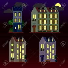 100 Three Storey Houses A Set Of Flat Illustrations Of At Night Storey