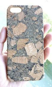 For Iphone SE 5 Black wood Cork Simple Cool Accessories cellphone mobile Cell Phone protection case cover handmade by Yunikuna