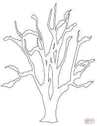 Winter Bare Tree Coloring Page
