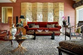 Rustic Living Room With Red Couch Picture Ideas