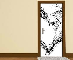 türaufkleber schwarz weiss herz schwarz tinte abstrakte kunst liebe schlafzimmer tür bild türposter türfolie druck aufkleber sticker 15a3204
