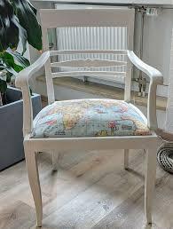 vintage shabby chic stuhl mit lehnen bezug weltkarte top