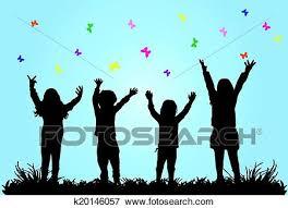 Clip Art Of Children Playing Outside K20146057