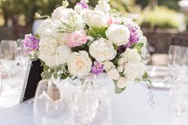 Lavender Pink And White Wedding Table Centerpiece