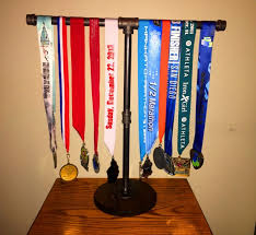 Sports Medal Display Stand Industrial Black Pipe Marathon261 Half Marathon 131