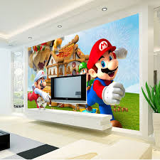 Super Mario Photo Wallpaper Personalized Custom 3D Wall Mural Game Childrens Room Boys Bedroom Art Decor Cartoon In Wallpapers From Home