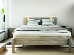 Ikea Sultan Bed Frame by Nyvoll Light Grey Bed With Bedside Tables And Palmlilja Beige
