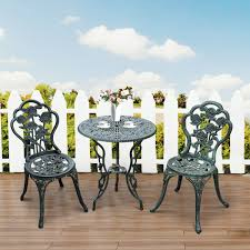 Outsunny Patio Furniture Assembly Instructions by Aosom Outsunny 3pc Outdoor Cast Iron Bistro Set Table U0026 Chair