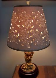Punched Tin Lamp Shades Uk by Acorn Cut U0026 Pierced Lampshade On Fall Candlestick Turned In To