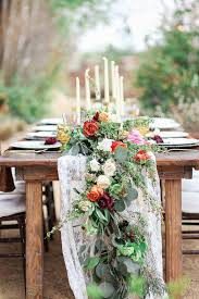 Wooden Table Floral Garland Wedding Tablescape