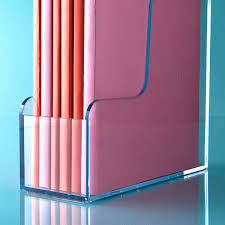 Plastic Desk File Sorter by Clear Magazine Holder The Container Store